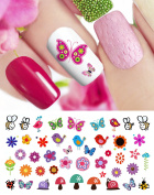 Spring Fever Nail Art Decals Set #2 - Flowers, Bees, Snails & More! Salon Quality!