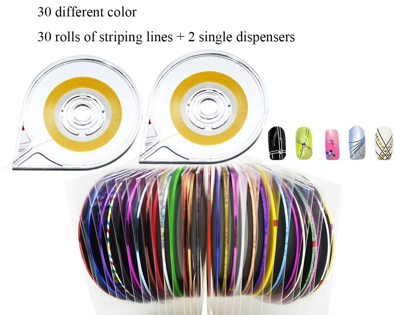 levylisa 30 Rolls Nail Sticker Line Mixed Colour Nails Striping Tape Decal  For DIY 3D Nail Art Tips Decorations Foil,Metallic Holo, Colours, Stripes