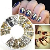 YARUIE High Quality Manicure 3D Nail Art Decorations Wheel With Gold And Silver Metal Studs Rivet In 12 Different Shapes