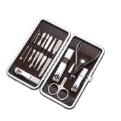 Cater Manicure, Pedicure Kit, Nail Clippers Set of 12Pcs, Professional Grooming Kit, Nail Tools with Luxurious Travel Case