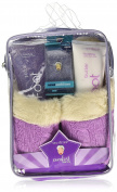 Bath Accessories Luxurious Cable-Knit Foot Spa Slipper Set, Vanilla Berry Frost/Lavender