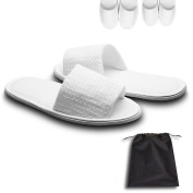 echoapple 10 Pairs of Waffle Open Toe White Slippers-One Size Fit Most Men and Women for Spa, Party Guest, Hotel and Travel, Washable and Non-Disposable (Large, White-10 Pairs)