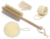 OLIVIA & AIDEN Bath Brush Set - Includes Bath Brush and Pumice Stone, Loofah Back Scrubber, Exfoliating Bath Gloves and Bath Pouffe - The Ultimate Home Spa Set