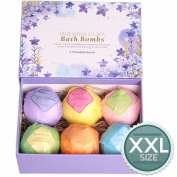 LuxSpa Bath Bombs Gift Set - The Best Ultra Lush Natural Bubble Fizzies With Dead Sea Salt Cocoa And Shea Essential Oils , 6 x 120ml, The Best Birthday Gift idea For Her/Him, wife, girlfriend, women