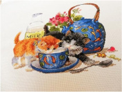 Cat and blue cup counted cross stitch kits,128110stitch 3330cmcm Egyptian cotton thread cotton cat cross stitch kits