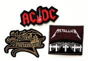 3 Pcs Set Music Band Patch AC DC ACDC guitar King Diamond METALLICA Punk Rock Heavy Metal Music Band Jacket T shirt Patch Sew Iron on Embroidered Symbol Badge Cloth Sign Costume