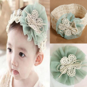 Unmengii Cute Headwear Infant Hair Accessories Lace Flower Bowknot Baby Hairband Flower Headband