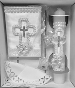 Baptism Baby Gift Set Prayer Book Rosary Candle scapular Party Supplies