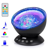 Remote Control Ocean Wave Projector, Hallomall 12LED Night Light Lamp with Built-in Music Player, 7 Colour Changing Lighting Modes, Perfect Choice for Baby Nursery Bedroom Living Room