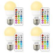 Jayool E27 3W Timing RGBW LED Colour Changing Light Bulb with Remote Control, Edison Screw Coloured Light Bulbs, RGB+Warm White(2700K), Double Memory and Wall Switch Control