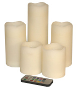 Set of Five Various Sized Colour Changing LED Church Candles with Remote Control