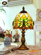 Makenier Vintage Tiffany Style Stained Glass Bedroom Bedside Corner Table Desk Small Lamp, 18cm Lampshade
