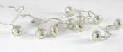 Garland Of 10 LED Silver Coloured Filigree Baubles - Battery Operated