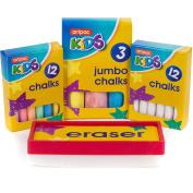 28pc Set Of White & Coloured Chalks With Eraser