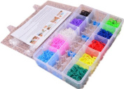 Ardisle 2500 Colourful Rainbow Rubber Loom Bands Bracelet Making Kit With S-Clips Case