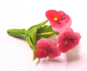 Tumdee Miniatures Dolls House Miniature Bunch of 3 Pink Pansy Flowers Miniature Accessory