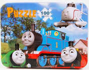 Thomas the Tank Engine 100pcs Wooden Jigsaw Puzzle Educational Montessori Child Toy in Tin Box