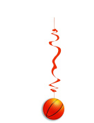 Deco Party UK Basketball hanging swirl decoration pack of 6