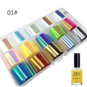 AMA(TM) Nail Art Transfer Foil Sticker for Nail Tip Decoration & Star Glue Set