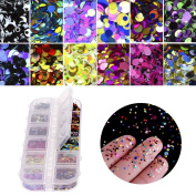 Ownsig 12 Grids Dazzling Round Nail Glitter Sequins DIY Charms Nail Art Glitter Decorations Tips Mixed Colour Size