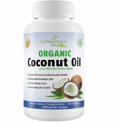 Organic Coconut Oil Capsules - Extra Virgin Coconut Oil Pills For Weight Loss, Healthy Hair & Skin - 120 Softgells - 2000 mg Per Serving - 1000mg Per Vegetarian Pill - Made In Usa