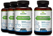 Save 10% | Myo-Inositol & D-Chiro-Inositol for PCOS | 3-Month Supply (4 Bottles) | Discounted Bulk Price | Ideal 40:1 Ratio | Vegan | All Natural | Potent PCOS, Fertility and Reproductive Support