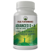 ADVANCED Vitamin D 5000 IU + ALL 3 Types Of Vitamin K By Peak Performance. Vitamin D3 and Vitamin K2 MK-7 (MK7) K2 MK4 K1 Supplement! 60 Small & Easy to Swallow Vegetable Capsules / Pills