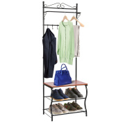 Entryway Bench with Coat Rack, MaidMAX Shoe Coat Rack Hall Tree with 3-Tier Shoe Bench Shelves, 5 Hooks & Hanging Bar for Entryway Storage, Black Finish