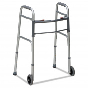 BGH 80210450600 Two-Button Release Folding Walker with Wheels, Silver/Grey, Aluminium, 80cm - 100cm H