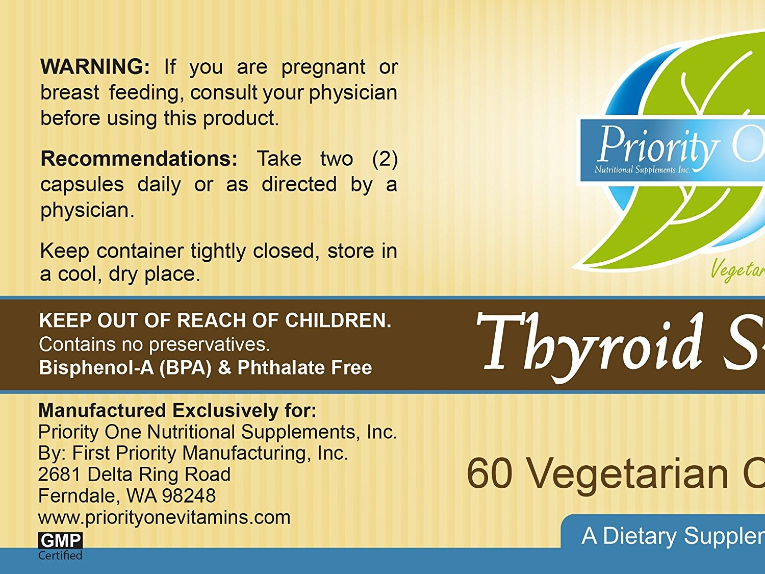 Priority One Vitamins Thyroid Support 60 Vegetarian Capsules - Vegetarian  support of the thyroid gland *