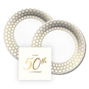 CR Gibson 50th Anniversary Gold Foil Design Paper Dessert Plates and Paper Napkins, 16 Servings, Bundle- 3 Items