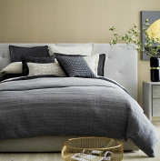 Striped Yarn Dyed Washed Cotton Chambray Duvet Quilt Cover Bedding Set by Tahari Home, Minimal Geometric Textured Ombre Pattern Ash Slate Grey or Blue