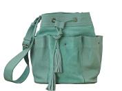 FLEUR Almond Green Cow Nubuck Leather Tote Bucket Bag Vintage Style PAUL MARIUS