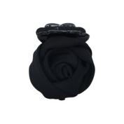 Rose Flower Barrette Hair Claw Clip Black