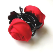 Rose Flower Barrette Hair Claw Clamp Red