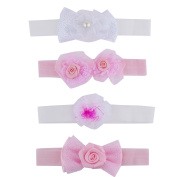 Lux Accessories Pink Flower Baby Girl Infant Hair Accessories Headband Set 4PC