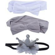 Lux Accessories Grey Crown Baby Girl Infant Hair Accessories Headband Set 2PC