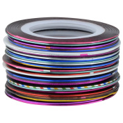 Theo & Cleo 30Pcs Mixed Colours Rolls Glitter Striping Tape Line Nail Art Tips Decoration Sticker