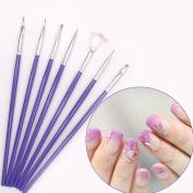 7 Pcs UV Gel Nail Polish Brushes Kit Manicure Nails Tool Art Brush Drawing Painting Pens Design Beauty DIY Professional Soft Cute Popular Toe Pads Lacquer Natural Cleaner Stencils Glitter Kits