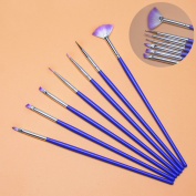 7 Pc Nail Art Brush Pen Gel UV Tips Decoration Manicure Tools Beauty Brushes Dotting Painting Drawing Builder Design Polish Professional Soft Artificial Popular Pedicures Toenail Lacquer Remover Kit