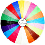 Stylo 3D filament refills PLA 1.75 mm thickness - 20 colours (6 glow in the dark) - 5 metre (16.4 feet) each colour (Free stencils ebook included) Used for 3d pen, printers & art drawings