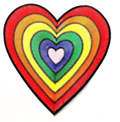 Big Jumbo Rainbow Heart cartoon patch Logo Jacket Polo T shirt Patch Sew Iron on Embroidered Badge Sign Costume
