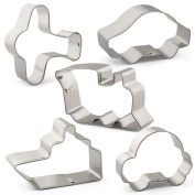 Transportation Cookie Cutter Set - 5 PCS - Aeroplane, Car, Train, Ship and Bubble Car - Stainless Steel