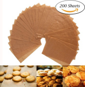 Unbleached Parchment Paper - 200 Non-Stick Brown Cookie Baking Sheets - 30cm x 41cm - Safe for High Temperature Baking - More Convenient than the Rolled