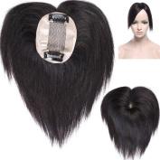 Human Hair Topper Clip in Hair Piece Silk Top 6cm x 9cm Remy Natural Hair Straight For Women Thinning Hair