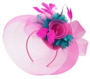Caprilite Fuchsia Hot Pink Feather Flower Fascinator Hat Veil Net Headband Clip Ascot Derby Races Wedding