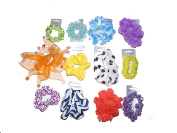 x12 PACK OF MIXED HAIR SCRUNCHIES - STAR FOR WOMEN GIRLS RED BLUE