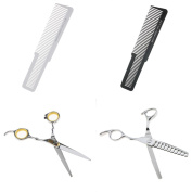Sharplace 2pcs 17cm Professional Barber Scissor Hair Cutting Thinning Stainless Steel Shears+ 2pcs Hair Clipper Comb Set