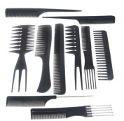 Leisial 10pcs Professional Combs Carbon fibre Salon Hair Styling Hairdressing Hairdresser Barbers Combs Set