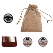 MagiDeal Premium Beard Kit 30g Beard Balm Wax + Beard Comb + Storage Bag for Men Gift